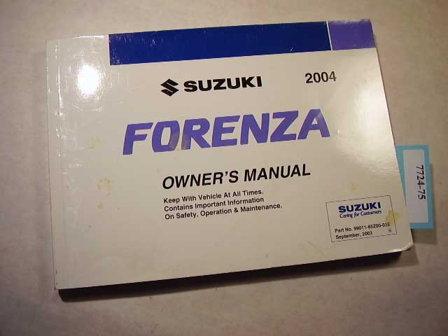 2004 suzuki forenza owners manual 7724 75 cooters auto manuals rh cootersautomanuals com 2006 suzuki forenza service manual pdf 2006 suzuki forenza service manual pdf